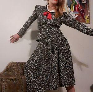 70's does 40's geometric Act I Petites skirt set